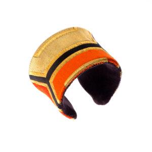 Bracelet manchette Harmonie rouge et or